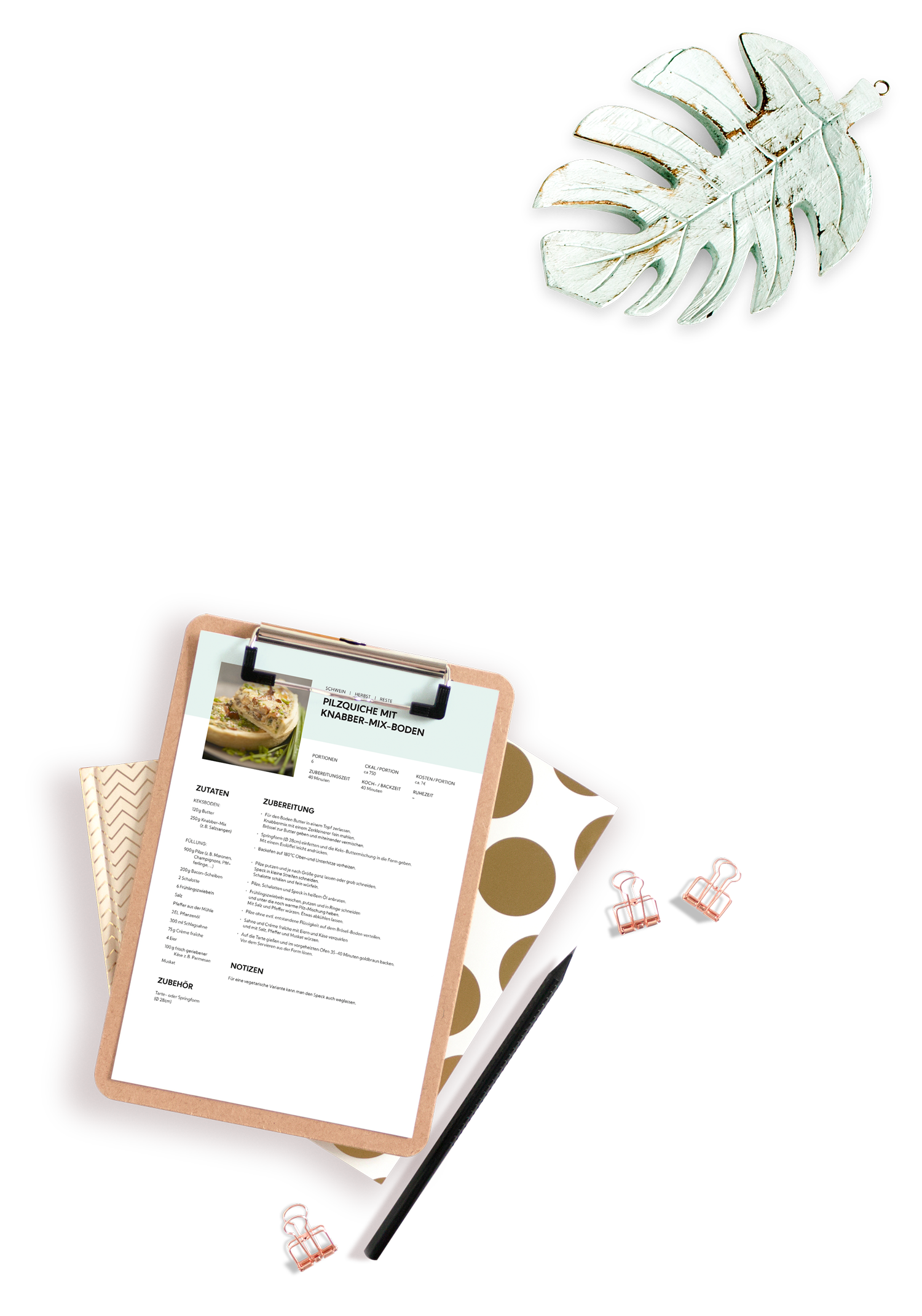Büromaterial, Stift, Klammern und Klemmbrett mit Alltagsfreuden Printable