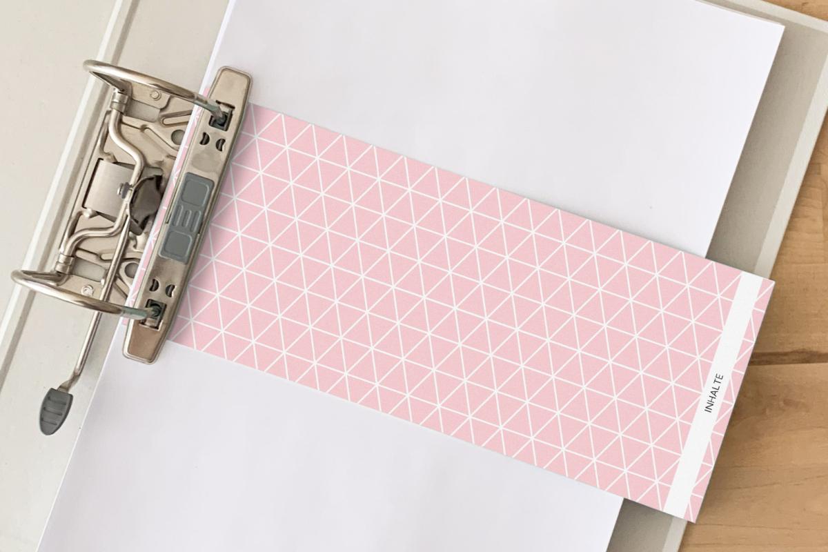 Trennstreifen von Alltagsfreuden in der Farbe Rosé mit Dreiecksmuster